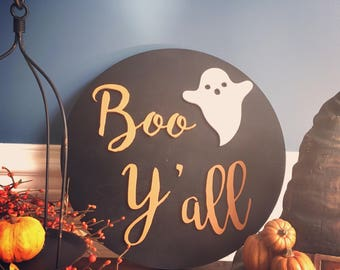 "Boo Y'all, 16"" Halloween Wood Wall Sign"