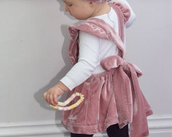 Personalised velour velvet pinafore with matching bow headband in vintage style.