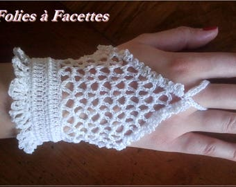romantic white cotton crochet mittens