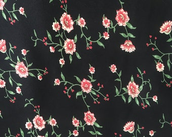 Floral Rayon Crepe Fabric, Rayon Fabric by the Yard, Rayon Crepe Yardage, Yardage, Floral Fabric