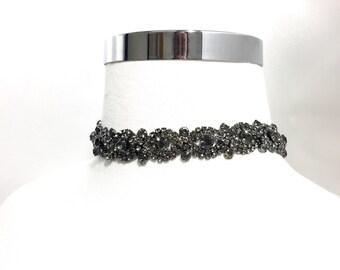 Black Rhinestone Choker, Black Necklace, Choker Jewelry