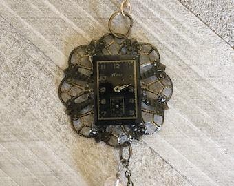 Black vintage watch face assemblage pendant