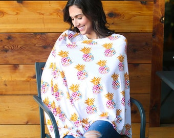 Pineapple Print 3 in 1 Multi-function Women Nursing Cover, Baby Car Seat Canopy Cover, Scarf Maternity Top