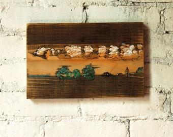Painting on Reclaimed Wood, Flatland, Hand Painted Minimalist Art on Old Board
