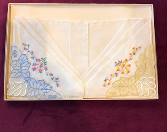 Boxed set of 2 Embroidered Cotton or Linen Hankies Vintage New in box Hanky