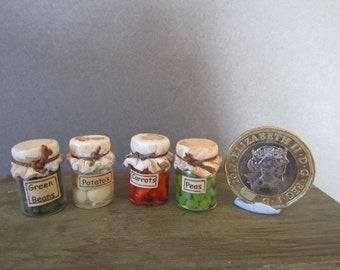 4 jars of preserved vegetables 12th scale miniatures by KastleKelm Miniatures