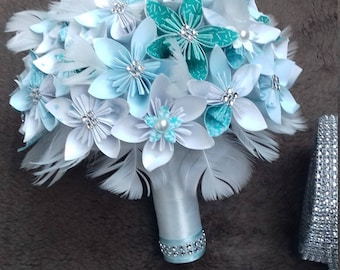 Bridal bouquet, alternative wedding Bouquets, Bouquet of flowers of paper, Origami Wedding Bouquet, wedding flowers