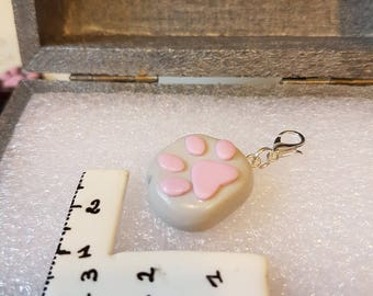 Charms / grey polymer clay cat footprint charm