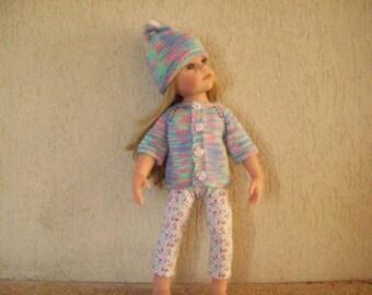 vest, leggings, hat for dolls, gotz hannah (cotton printed with stars)