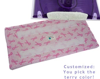 1+ Reusable Swiffer Wet Jet Pads, PINK RIBBON CHECK, EcoSwift Pads, Reusable Washable EcoGreen, Refills, breast cancer WetJet Pads Detroit