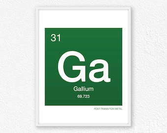 31 Gallium, Periodic Table Element | Periodic Table of Elements, Science Wall Art, Science Poster, Science Print, Science Gift
