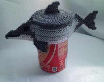 Dolphin Soda Pop Can Topper Drink Charm Plastic Canvas Cover