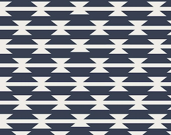 Navy Blue White Modern Cotton Fabric by the Yard, Tomahawk Stripe, Arizona Fabric Art Gallery