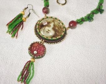 Green Tara Goddess Necklace set.