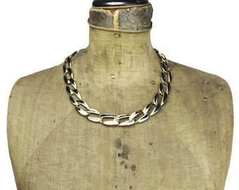 Black Enamel Gold Collar Necklace, Gold Chain Necklace,  Black Enamel Necklace, Black and Gold Necklace