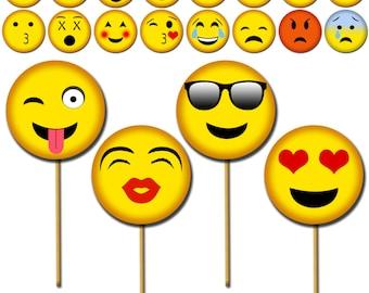 Emoji Photo Props, Printable Photo Booth Props, Smiley Party Prop, Emoji Faces Party Props, Emoji Centerpiece, Emoji Party, Kiss Booth-DP417