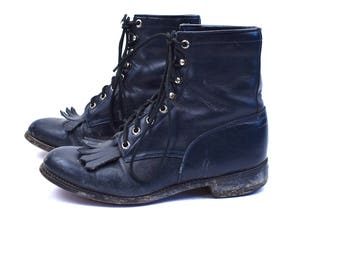 Midnight Blue Lacer Boots, Packer Boots with Kiltie, Women's Size 5 1/2
