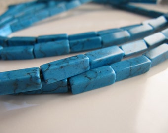 13mm Imitation Turquoise Tube Beads in Sky Blue, 13mm x 5mm, 1 Strand, 15 Inches, 30 Pieces, Rectangles, Man Made Gemstones