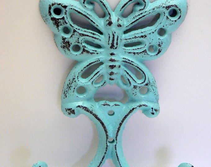 Butterfly Cast Iron Wall Hook Blue Shabby Chic Nursery Spring Summer Wall Decor