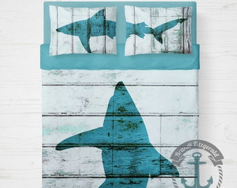 Shark Duvet Cover | Sealife Nautical Bedding | As Shown or You May Choose Any Art from My Shop