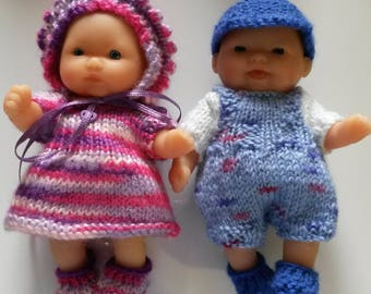 "Berenguer 5 ""Lots to Love Baby Doll. 4pce set of knitted clothes. 2 sets available.  Pinks or Blues."