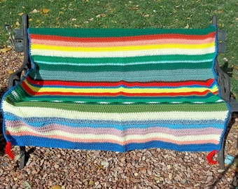 "Crocheted Afghan ""Recycled Rainbow"""