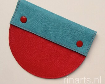 Leather purse / pouch Demi Circle in color block turquoise and red leather.  Gift for her.
