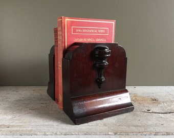 Vintage Wooden Bookends, Barrister Bookends, Solid Wood