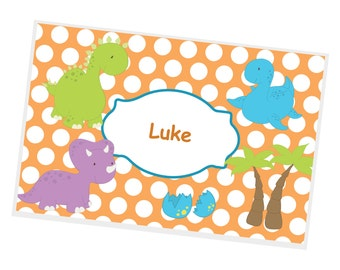 Dino Personalized Placemat -Dino Orange Polka Dot with Name,Customized Laminated Placemat