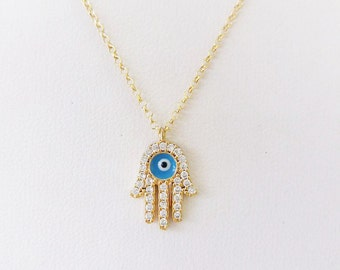 Gold Hamsa Necklace / Hand Of Fatima Pendant / Evil Eye Necklace / White Zircon Charm / Mothers Gift / Jewelry/ Sterling Silver/ Gold Plated