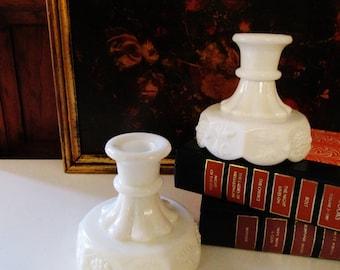 Vintage Westmoreland Candleholders, Milk Glass Candlesticks, Paneled Grape Motif, Low Candlesticks, Farmhouse Chic