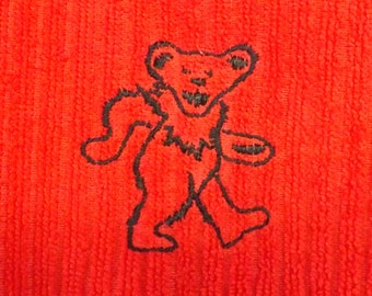 Kitchen Towel with an Embroidered Grateful Dead Dancing Bear - Red and Black