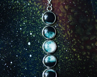 Moon Phase Necklace - Lunar Pendant - Outer Space Galaxy Jewelry - Moonphase, New Age, Luna, Celestial, Science Gift IFLS, Wedding