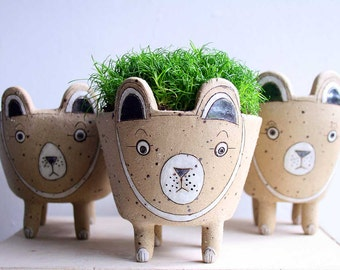 Spotty bear planter-brown bear plant pot