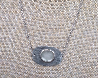 English sea glass and sterling silver pendant necklace