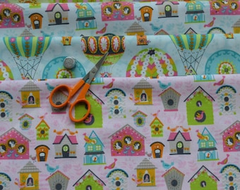 Fat Quarter Bundles, Bird House, Hot Air Balloon Fabric, 4 Fat Quarters, Quilting Fabric, Cotton Fabric, Craft Projects, DIY Sewing Projects