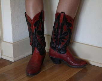 """1970s """"Dan Post"""" Red and Black Cowgirl Boots"""