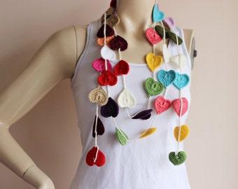 Heart Scarf-Heart Lariat Scarf-Valentine Scarf-Lariat Necklace Scarf-Heart Crochet Scarf