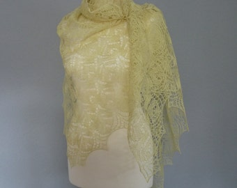 Linen hand knitted lace shawl. Yellow summer lace shawl.