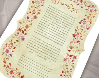 Ketubah - Love and flowers blushing