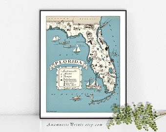 FLORIDA MAP PRINT- size & color choices - personalize it - vintage coastal map - fun wedding or housewarming gift - beach house art print