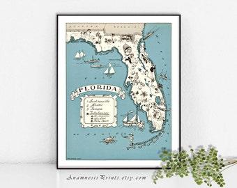 Choix de Floride carte imprimé-taille & couleur - personnaliser - vintage carte côtière - amusant cadeau de mariage ou de pendaison de crémaillère - plage maison d'art