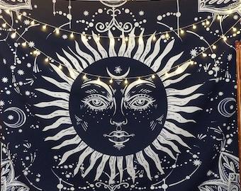 Navy Blue Sunshine Tapestry  51x59in