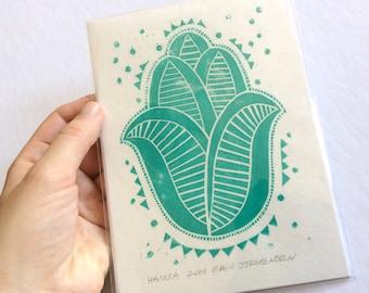 linocut - HAMSA // 5x7 art print // printmaking // block print art // turquoise, blue green // hand of fatima // original art // 4x6 // mini