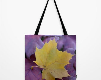 Fall Leaves, Gold Red Purple, Tote Bag, Grocery Sack, Reusable Tote, Teacher Gift, Book Bag, Large Purse, Small Tote, Farmers Market