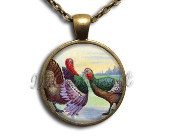 10-YR Anniversary Sale! Vintage Turkey Thanksgiving Painting Dome Pendant or with Chain Link Necklace HD134