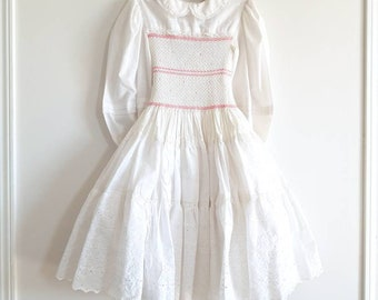 Vintage White and Pink Smocked Girl's Dress