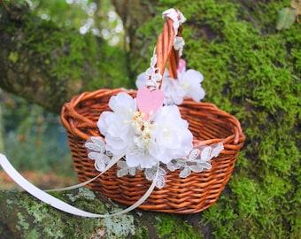 Rustikale Hochzeit Korb, Blumen Mädchen Korb, Natur Wald Jahrgang Rustikale  Outdoor