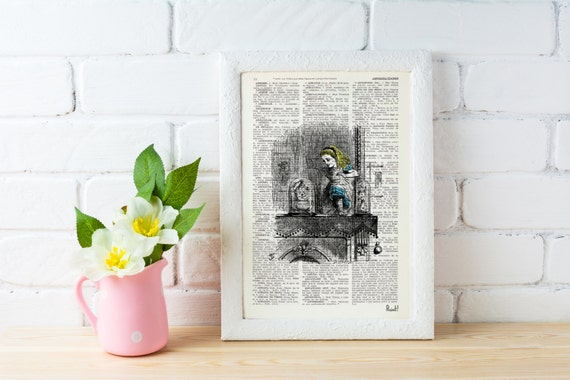 Alice in wonderland Alice in Wonderland  Alice through the mirror  Print on Vintage  Book art ALW008