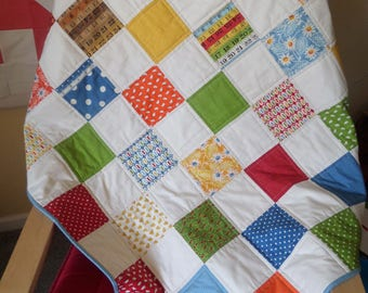 "American Jane ""Potluck"" Baby or Lap Patchwork Quilt 41"" x 41"""